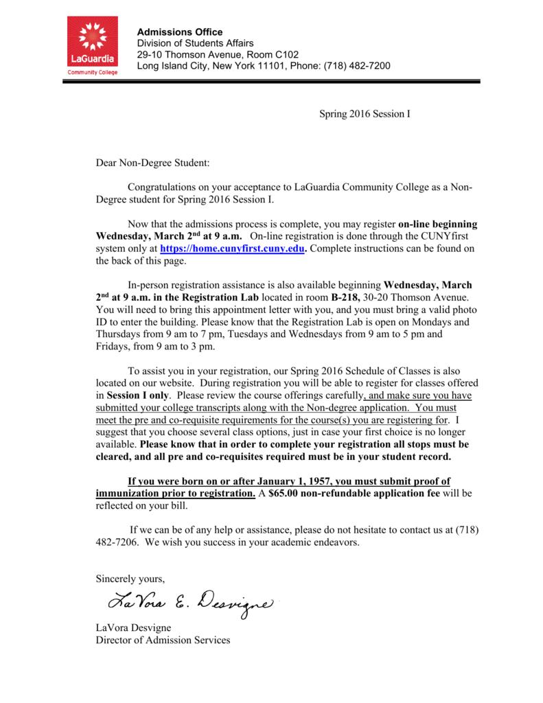 Registration letter laguardia community college altavistaventures Images