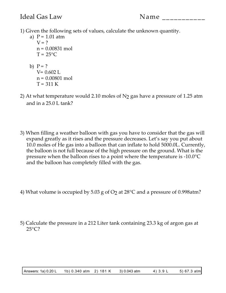 Ideal Gas Law Problems