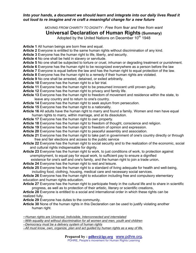 universal declaration of human rights (summary)
