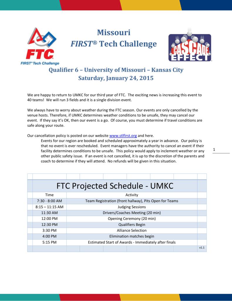 Ftc Projected Schedule Umkc
