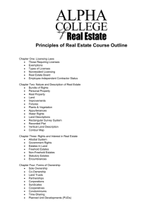 Principles of Real Estate Course Outline