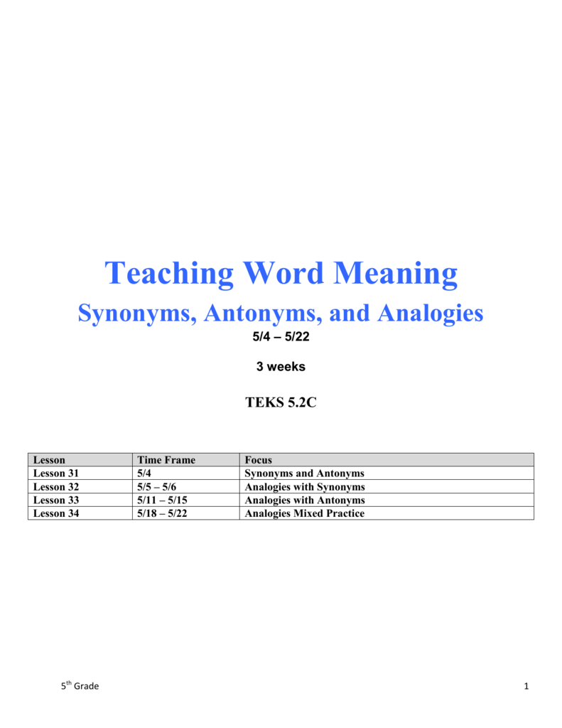 Teaching Word Meaning - Midland ISD