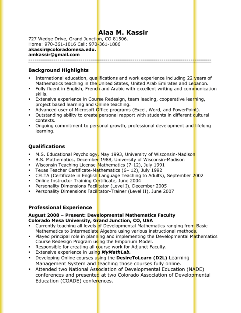 Curriculum Vitae Colorado Mesa University