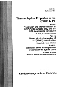 Thermophysical Properties in the System Li-Pb