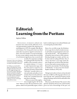 Editorial: Learning from the Puritans