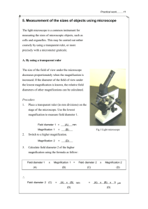 5. Measurement of the sizes of objects using microscope