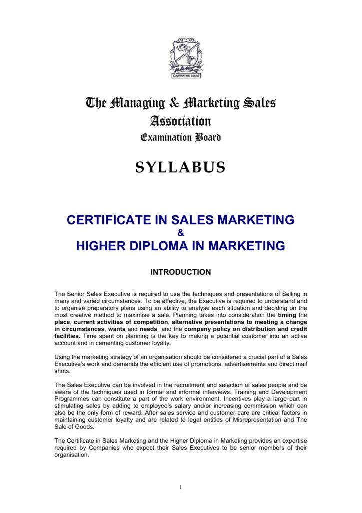 The Managing Marketing Sales Association Syllabus