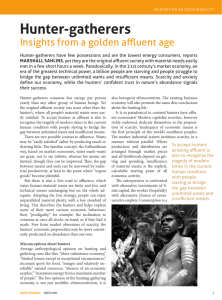 Insights from a golden affluent age: hunter gatherers