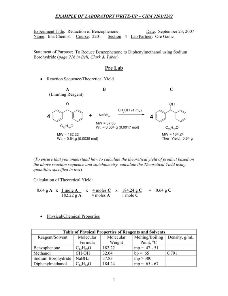 reduction of benzophenone