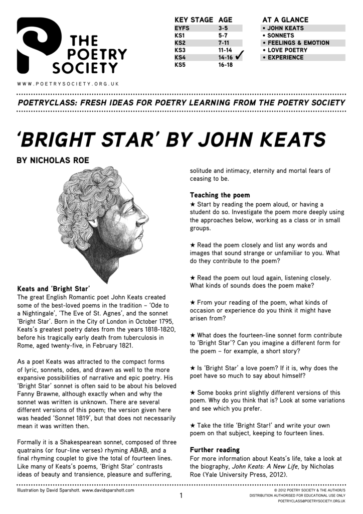 bright star keats poem