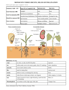 MONOCOTS VERSUS DICOTS, MEANS OF POLLINATION