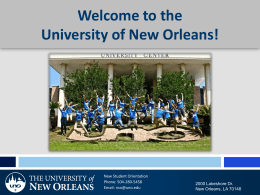 Welcome to the University of New Orleans!