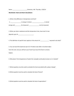 Worksheet: Heat and Heat Calculations