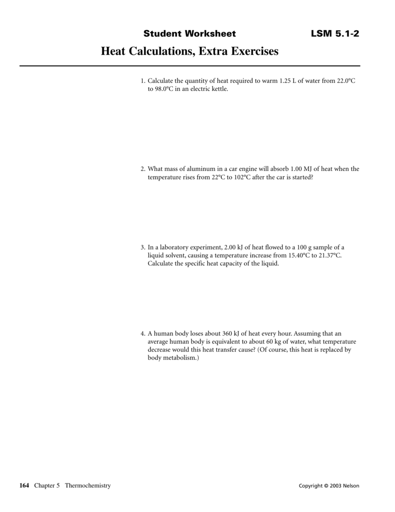 worksheet Specific Heat Calculations Worksheet heat calculations extra exercises