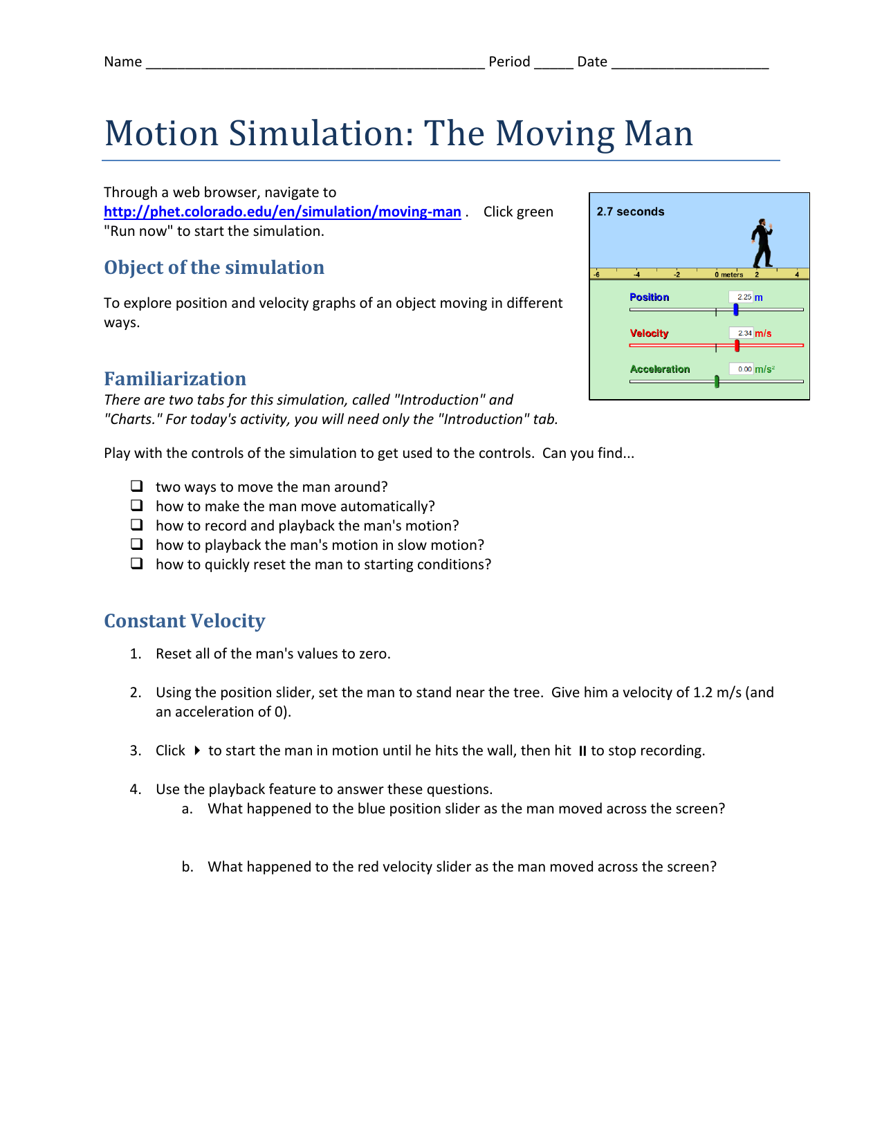 Motion Simulation The Moving Man Worksheet Answers on Forces And Motion Phet