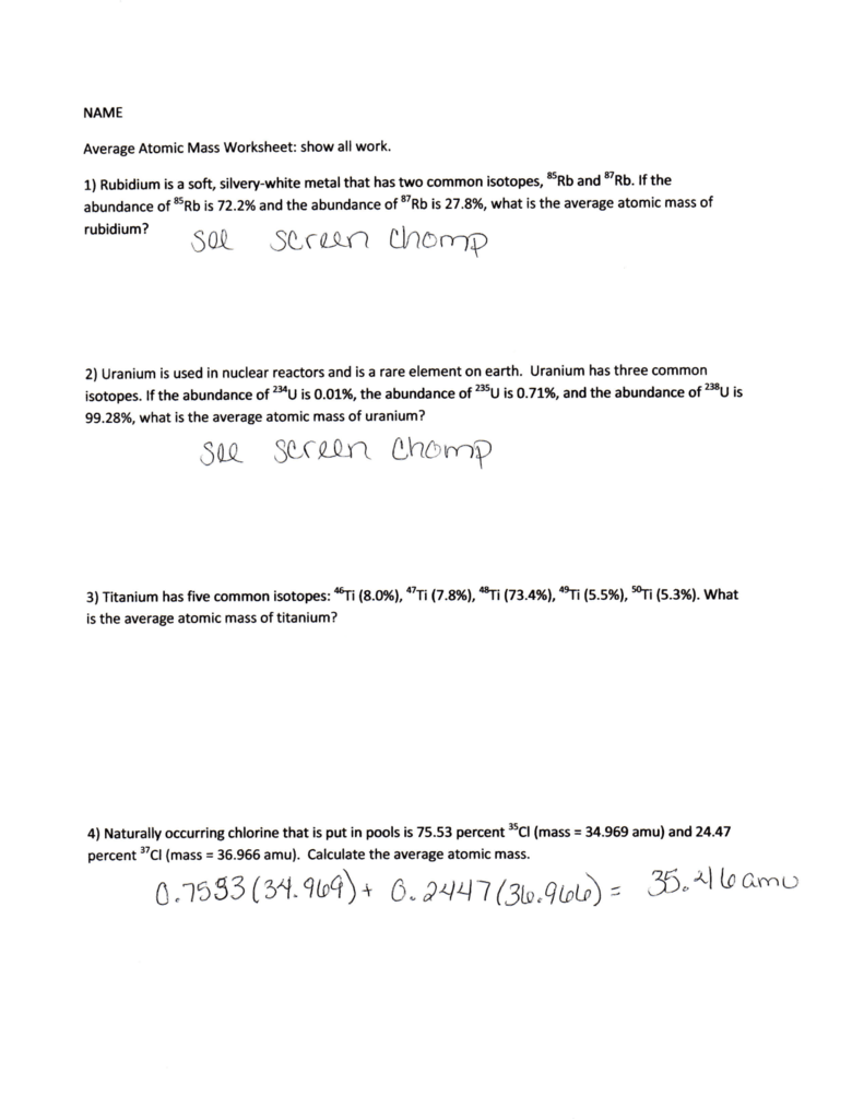 Review Worksheet Keys
