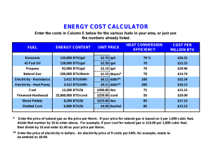 Energy Cost Calculator for Various Fuels
