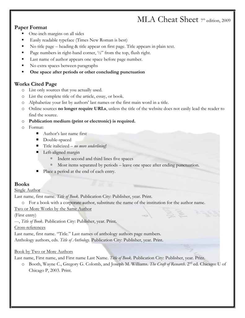 MLA Cheat Sheet 7th edition, 2009