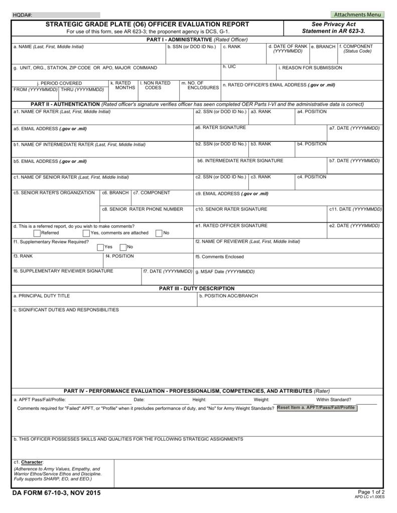 strategic grade plate (o6) officer evaluation report da form 67-10
