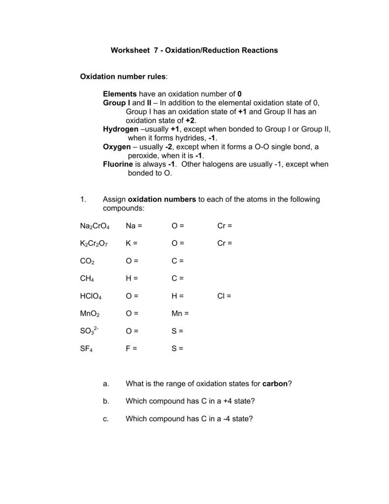 Worksheet 7 - Oxidation/Reduction Reactions Oxidation number