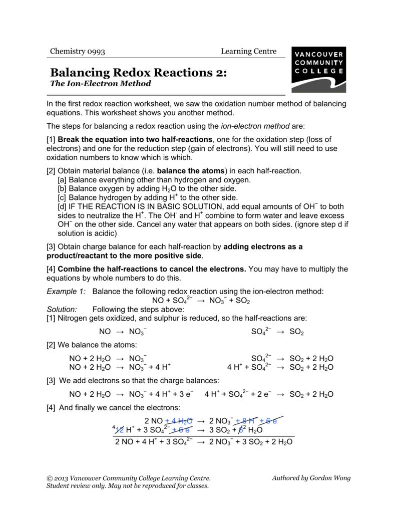 balancing redox reactions worksheet Termolak – Redox Worksheet