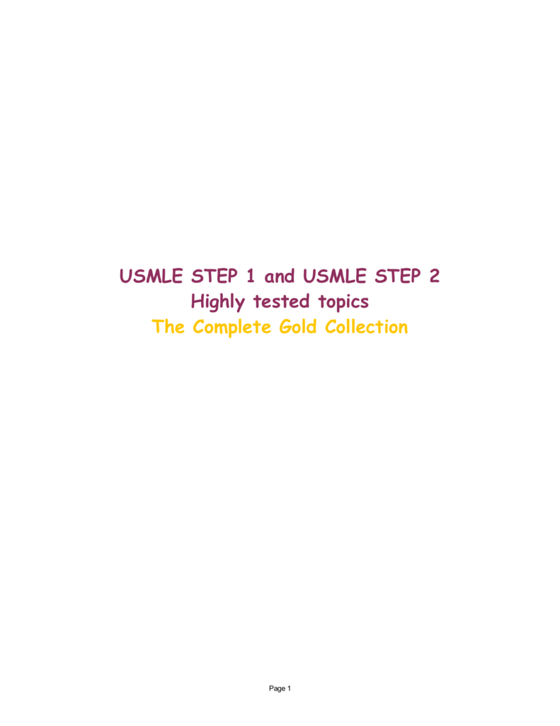 Usmle Step 1 And Usmle Step 2 Highly Tested Topics The
