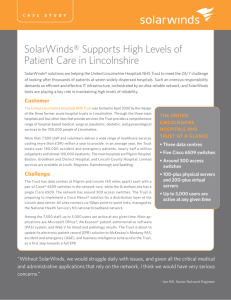SolarWinds® Supports High Levels of Patient Care in Lincolnshire