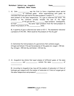 Boyle's Law and Charles' Law Worksheet