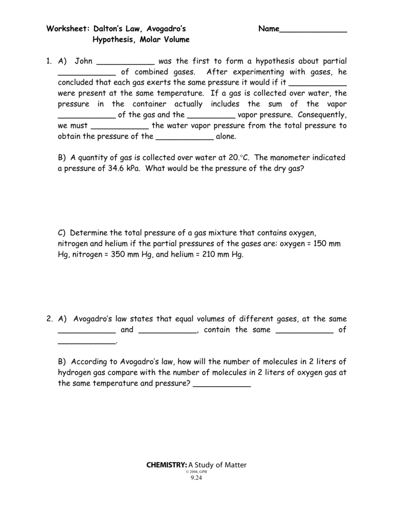 worksheet Molar Volume Worksheet worksheet daltons law avogadros name