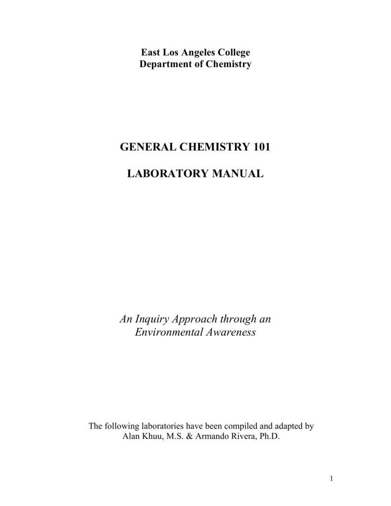 general chemistry 101 laboratory manual rh studylib net Organic Chemistry Lab Manual Organic Chemistry Lab Manual