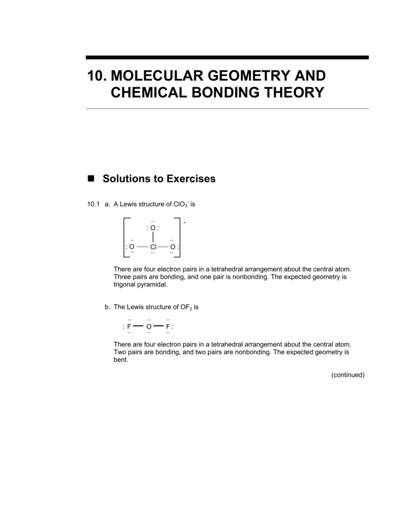 10 Molecular Geometry And Chemical Bonding Theory For this structure, give each atom an octet. 10 molecular geometry and chemical