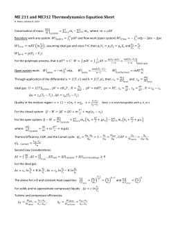 ME 211 and ME312 Thermodynamics Equation Sheet