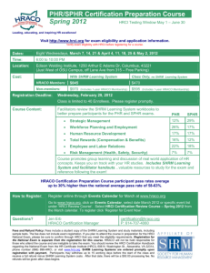 PHR/SPHR Certification Preparation Course Spring 2012