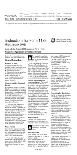 Instructions For Form 1139 Rev August 2006