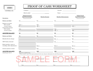PROOF OF CASH WORKSHEET/DOCUMENTATION