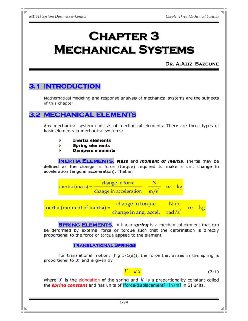 Chapter 3 Mechanical Systems