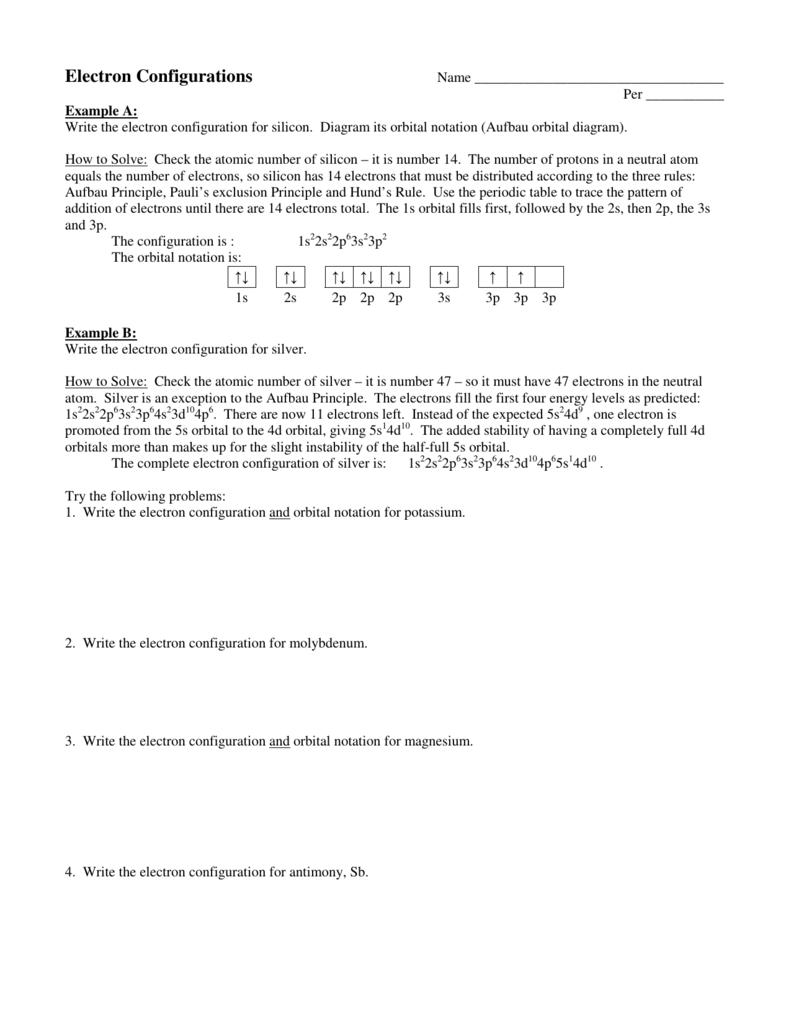 Electron Configurations Practice
