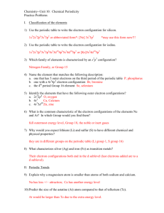 Electron Configuration Practice Worksheet 2003