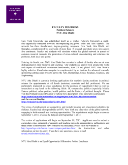 FACULTY POSITIONS Political Science NYU Abu Dhabi