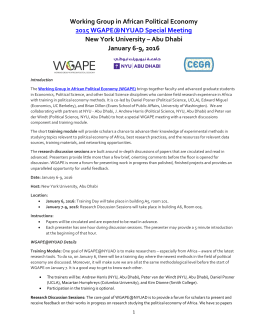 WGAPE January Meeting 2016 - NYU AD - Agenda