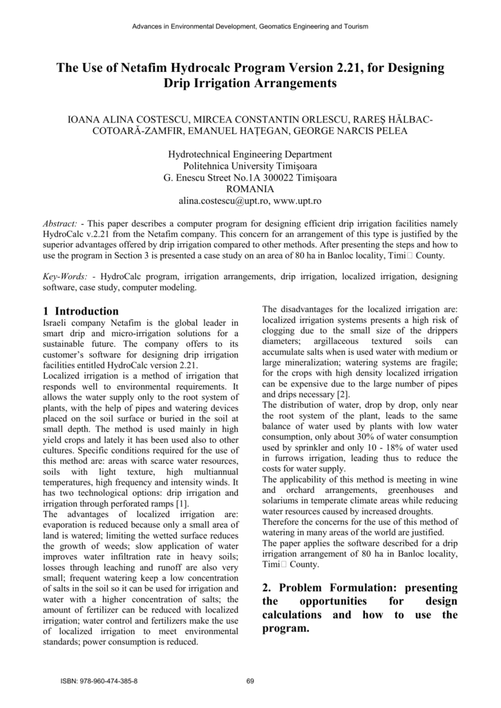 The Use Of Netafim Hydrocalc Program Version 2 21 For