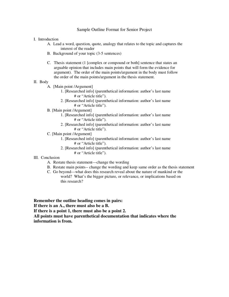 Sample Outline Format For Senior Project Remember The