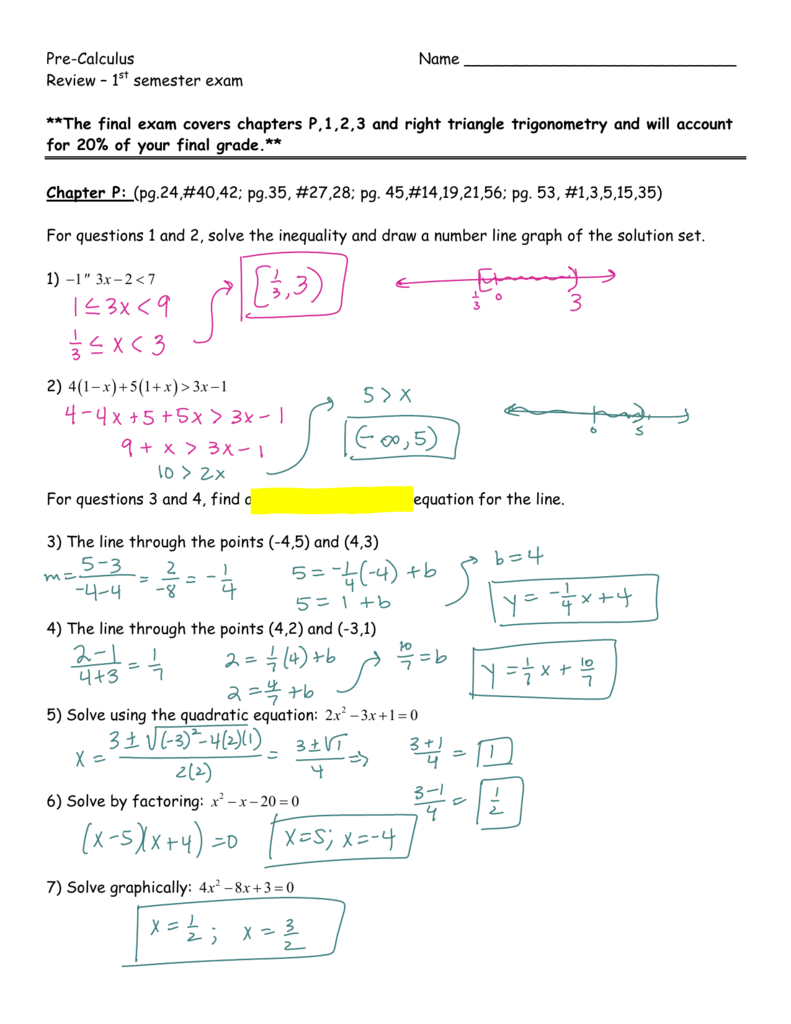 Semester 1 Review Packet Answers