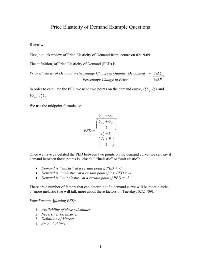Price Elasticity Of Demand Example Questions