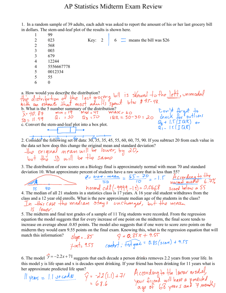 AP Statistics Midterm Exam Review