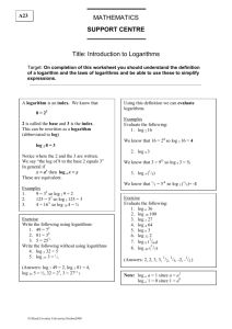 MATHEMATICS SUPPORT CENTRE Title: Introduction to Logarithms