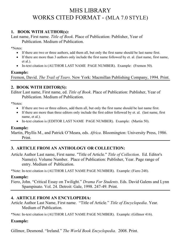 In Text Citation Worksheet