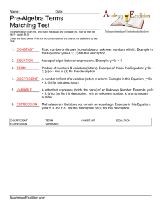 Pre-Algebra Terms – Matching Test_key