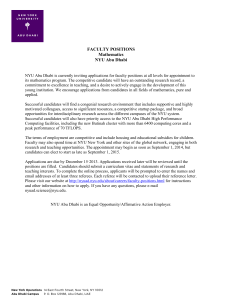 FACULTY POSITIONS Mathematics NYU Abu Dhabi