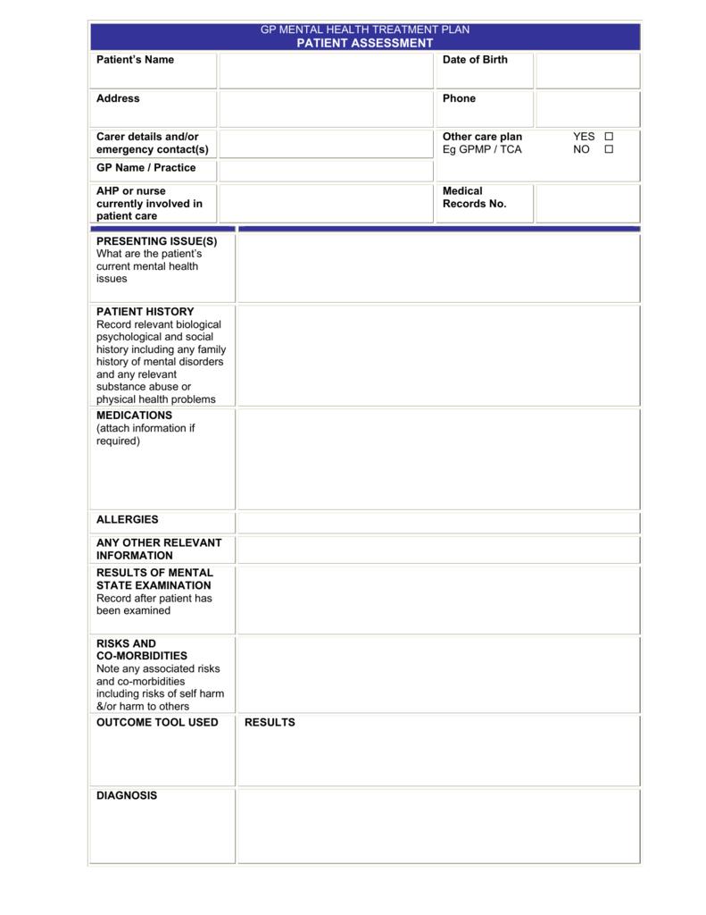 gp mental health treatment plan patient assessment